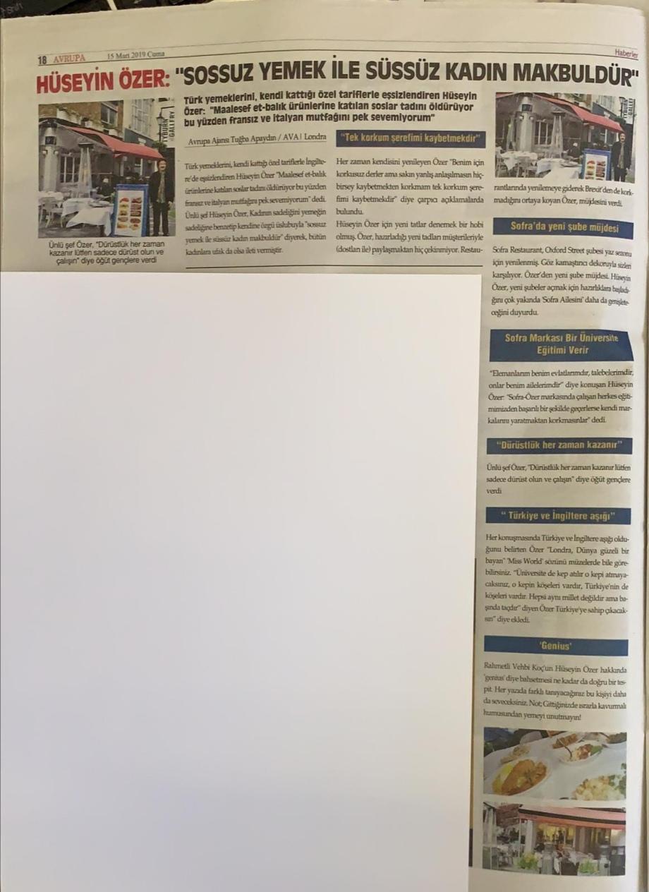 Huseyin Ozer avrupa gazetesi roportaj
